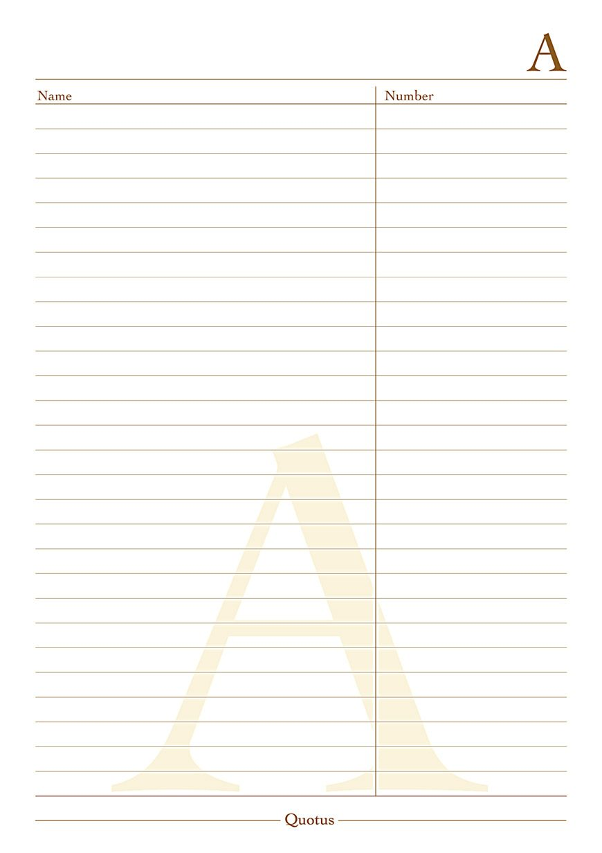 Quotus - Interla page phone number notepad