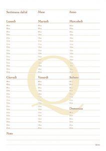 Quotus - Pagina Quaderno planning settimanale