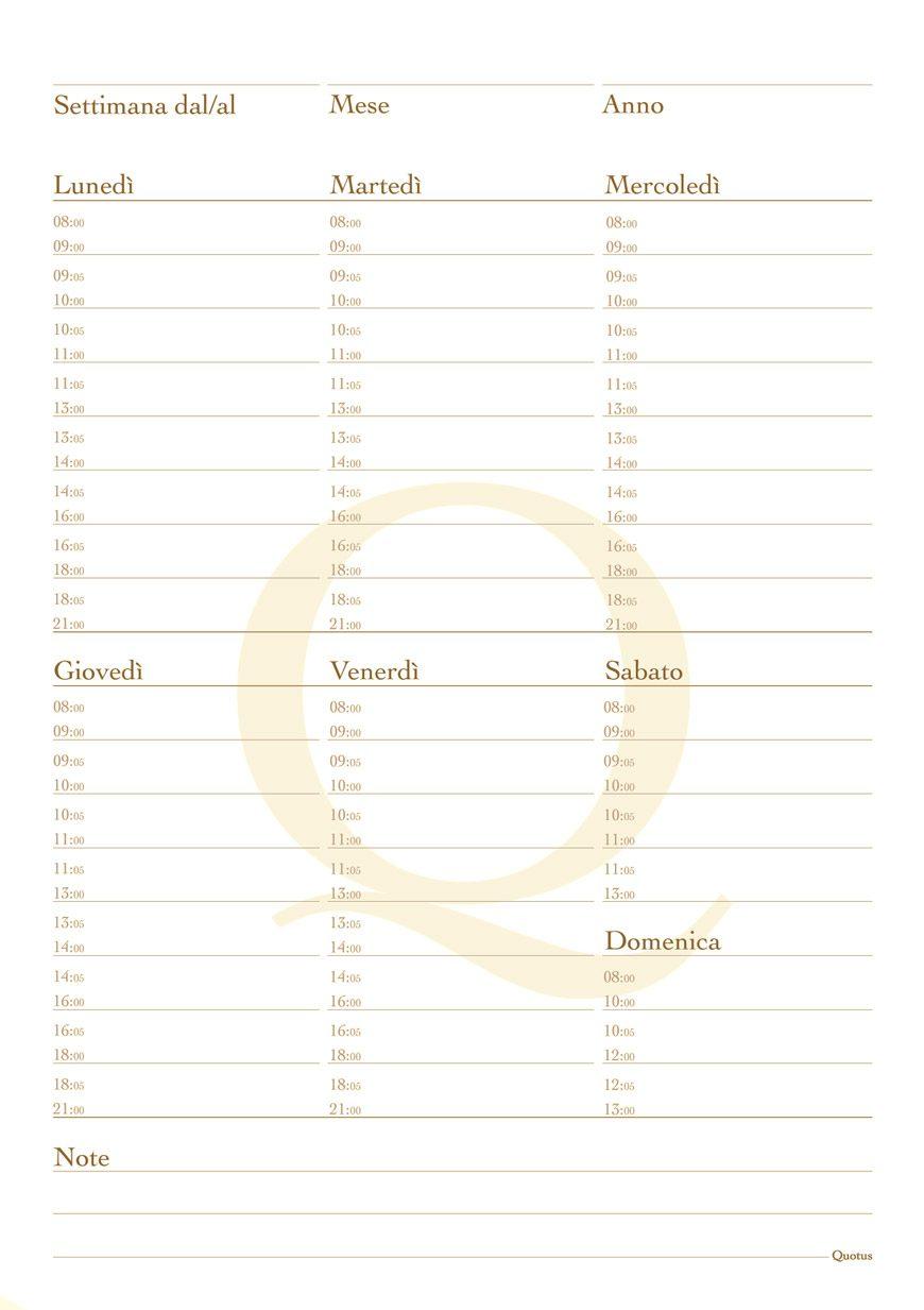 Quotus - Pagina taccuino planning settimanale