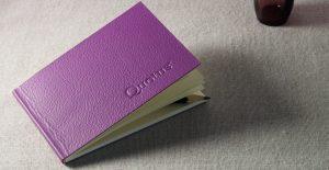 Cartoleria Made In Italy Quotus - Mini Block Notes Pavra in vera pelle, colore viola