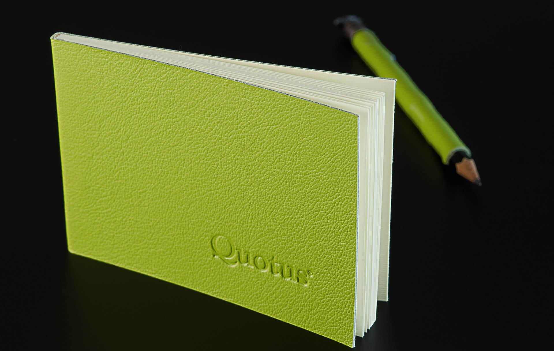 Cartoleria in pelle Quotus - Mini Block Notes a righe Pavra, colore verde