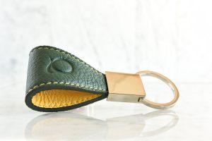 Portachiavi in pelle, colore verde - Quotus