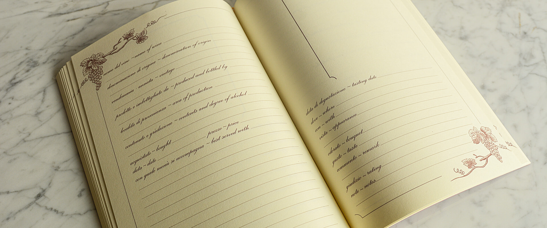 quaderno per gli amanti del vino